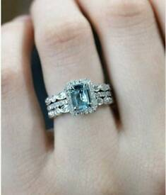 3 piece eternity, wedding and engagement ring 14 ct white gold size L