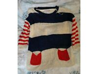 Redherring Jumper Sweater 10 S Small Cream Blue Red Pockets Chunky knit VGC
