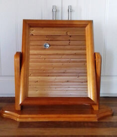 heavy 'solid wood' dressing table swivel vanity mirror on solid wood tilting action stand (RRP £49)