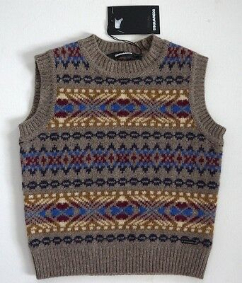 $205 NWT Authentic DSQUARED2 Kids 100% WOOL Knitted Sleeveless Vest 8Y