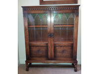 Vintage Display And Storage Cabinet Made In Light Oak Solid Wood.