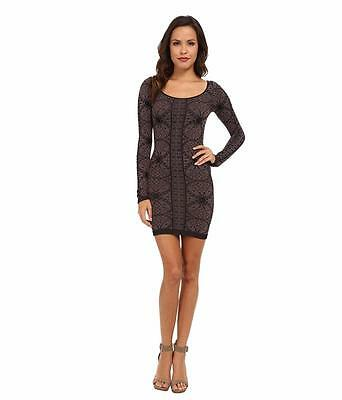 FREE PEOPLE MS SZ MED/ LARGE BLACK COMBO JACQUARD PRINT FASHION BODY-CON DRESS
