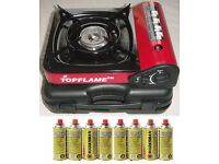 PORTABLE GAS COOKER STOVE + 8 BUTANE GAS BOTTLES BBQ BARBEQUE CAMPING FISHING
