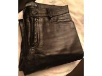 Ladies Black Genuine Leather Boot Cut Trousers Size 10 From Gap
