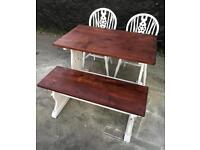 Shabby chic dining table, bench & 2 Chairs