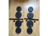 Two Dumbbells with Weights 4x2.5kg and 4x1.25kg (All together - 15kg)