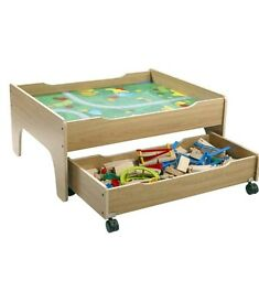 wooden train table with drawer and 100 piece train set brand new
