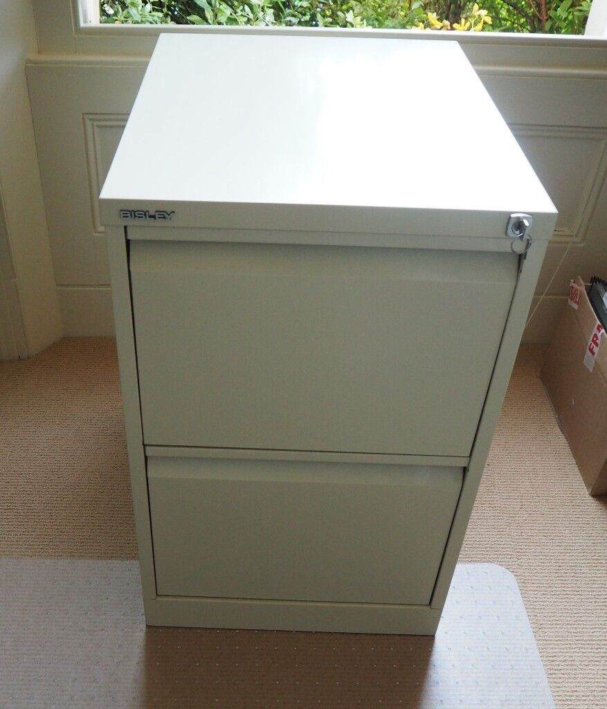 Bisley 2 Drawer Filing Cabinet In Cream Very High Quality Great Condition Flush Front With Keys