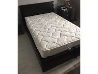 Faux Leather black small double ottoman bed