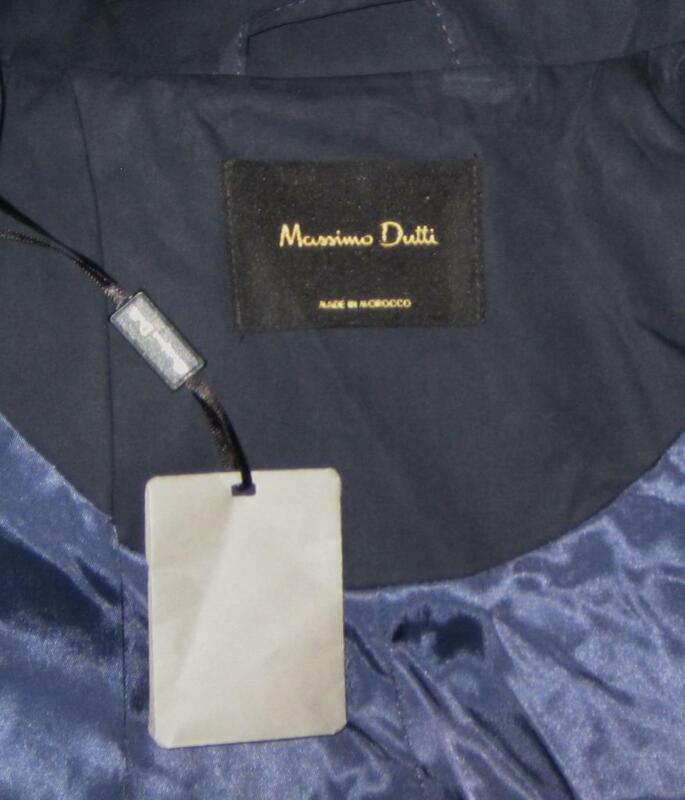 NWT Massimo Dutti ITALIAN Cotton TRENCH Coat Women XL Navy MSRP$250