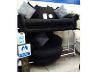 Newe dfs black sofa swivel chairs delivery available