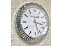 Rolex wall clock, Classic model, Silver fluted bezzal