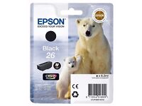 Various Epson 26 and Epson 26 XL brand new ink cartridges, assorted colours