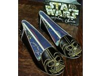 Star Wars Irregular Choice Shoes, Darth Vader Character Metallic Sparkly Glitter Black Flats *NEW*