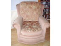 Dusky Pink draylon Velvet Armchair with reversable cushions Excellent Condition from SMOKE FREE HOME