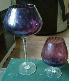 2 oversized wine glasses