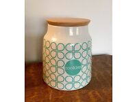 Ceramic cookie jar by Anna Gare with wooden seal / lid