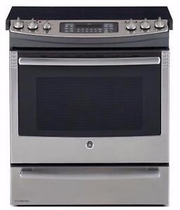 Cuisinière GE profile slide-in avec tiroir de cuisson, stainless
