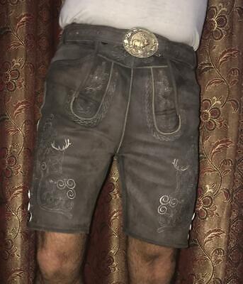 Trachten Lederhose kurz in antik Braun Hose mit - Männliche Lederhosen Kostüm