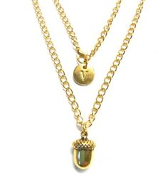 Gold acorn charm pendant necklace (free UK delivery)