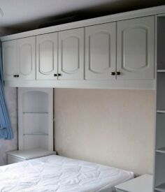 White bedroom wardrobe and overbed set