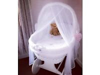White 'Waldin' Bassinet Wicker Crib On Wheels!