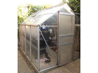 8 x 6 feet apex style aluminium greenhouse with opening top window, free to collect.
