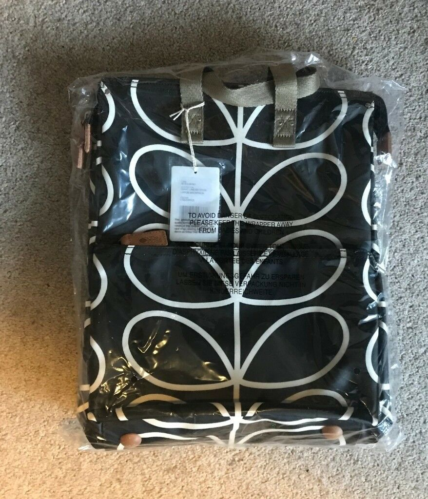 d79a928d57b Large Backpack by Orla Kiely. Giant linear stem in liquorice. BNWT ...
