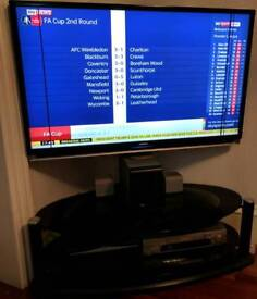 46 inch Toshiba LCD TV + Panasonic VHS video player with stand