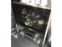 "Panasonic 32"" TV on glass stand"