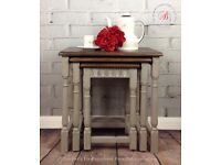 Vintage Oak nest of tables hand painted Annie Sloan