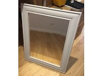Wall mirror, with painted French grey wooden surround - excellent condition