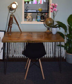 Industrial Writing Desk & Chair Mid Century Modern Style hairpin Legs 120x50cm