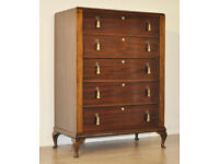 Attractive Simple Vintage Art Deco Tall Mahogany Large Chest Of 5 Five Drawers