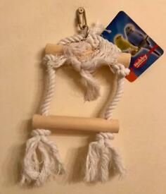 NEW Bird Small Swing/Perch- Wood/Sisal Rope - Collection only Melton Mowbray
