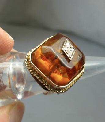 Amber Diamond Gold Ring 14K Retro Mid-Century Modern Eames Era Vintage Jewelry