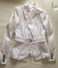 Zara White Fitted Jacket Size Medium