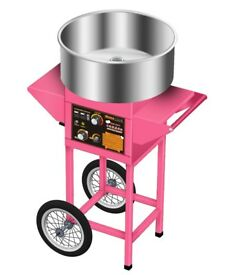 Electric Commercial Candy Floss Maker Machine With Cart Cycle Large Bowl