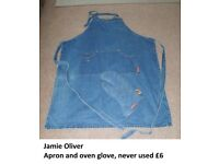 Jamie oliver denim oven glove and apron, just stored never used £6 collection from didcot