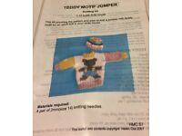 Teddy Motif Jumper Knitting Kit for 1:12 Scale Dolls House