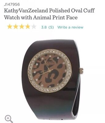 NEW: KathyVanZeeland Polished Oval Cuff Watch with Animal Print Face-Brown/Leop