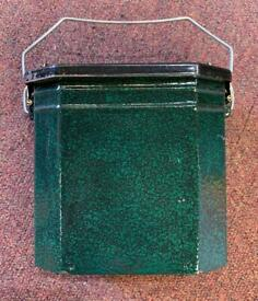 **SOLD** C.1920's French Enamelled Green Lunch Pail / Lunch Box