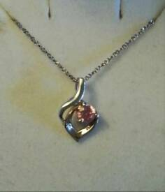 Sterling Silver Necklace with Pink Pendant - New