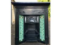 Victorian cast iron fireplace with tiles