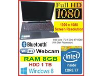 Lenovo Ideapad Y50-70 Gaming Laptop Intel Core i7 4710HQ 2.5Ghz 8TB 1TB Full Ultra HD Screen