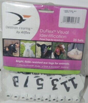 Destron Fearing Duflex Visual Id Livestock Panel Tags Lg White 25 Sets 1 To 25