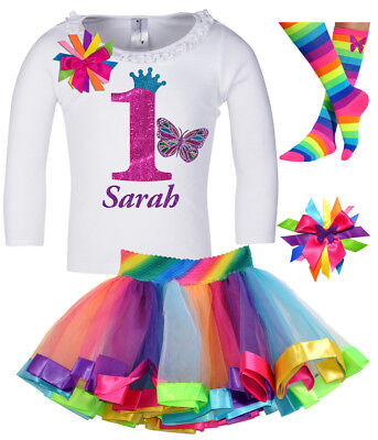 Bubblegum Divas Girl First 1st Birthday Outfit Butterfly Shirt Personalized 12M ](Butterfly First Birthday)