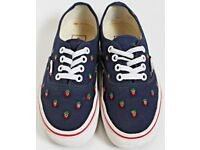 Women's Size 3 Vans Trainers - Navy Blue / Strawberry Print