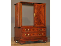 Attractive Small Vintage Antique Style Mahogany 2 Door TV Hifi Media Cabinet