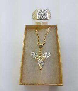 Rope chain + Angel + Verssace ring in gold 10 karat / Torsade + Ange + Bague Versace en or 10 karat Special